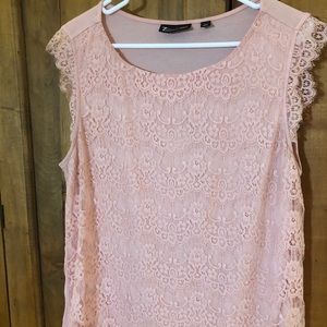 Pink lace blouse.